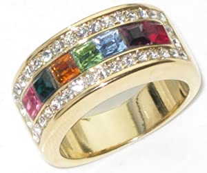 High Fashion Gold Ring. Multi-Coloured Simulated Diamonds. Beautiful Design accented with Princess cut lab diamonds, set against brilliant rounds. Heavily Gold Electroplated. 10mm width