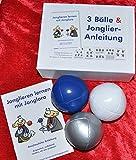 : 3 Bälle & Jonglier-Anleitung (blau, weiß, silber): Große Jonglierbälle (jeweils 68mm/130g)
