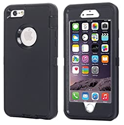 iPhone 6 Plus Case, iPhone 6S Plus Case [HEAVY DUTY] Built-in Screen Protector Tough 3 in 1 Rugged Shorkproof Waterproof Cover for Apple iPhone 6/6S Plus (Black(Without Kickstand))