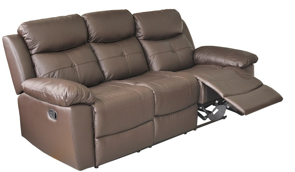 Brown Leather 3+1+1 Recliner Suite HAVENTO       Customer review and more information