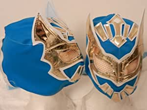 SIN CARA Kid's Youth Size Blue/Gold Wrestling MASK