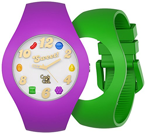 candy-crush-grape-and-apple-scented-straps-unisex-quartz-watch-with-white-dial-analogue-display-and-