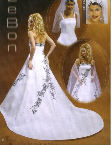 Lebon Bridal Couture #A352T White/Black Size 14 w/ Matching Veil Formal Bridal Gown Wedding Dress