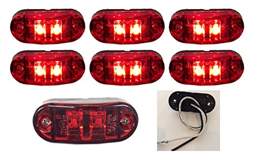 "6 New 2.6""X1"" Red Surface Mount Led Clearance Marker Lights 12V For Trucks Campers Trailers Rvs El-112602R6"