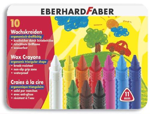 Imagen 1 de Eberhard Faber - Lápices de cera ergonómicos, resistentes al agua, en caja metálica (10 unidades, 11 mm) [importado de Alemania]