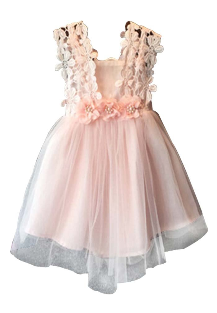 Baby Girls Sleeveless Lace Wedding Vintage Birthday Party Princess Flower Dress 0