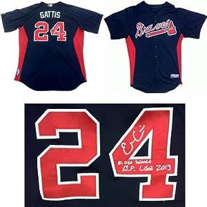 Evan Gattis Autographed Signed Batting Practice Used Atlanta Braves Majestic Cool...