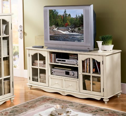 Buy Low Price Antique White Large TV Stand (B000P112K6)