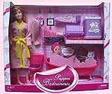 Brigamo 83289 - Puppen Badezimmer inkl. Puppen Badewanne und Modepuppe mit umfangreichem Zubehör thumbnail