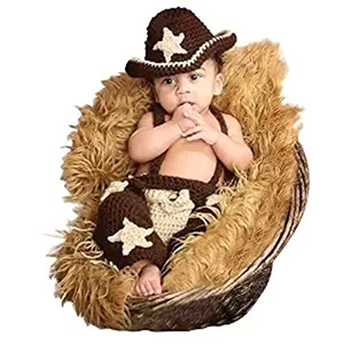 CX-Queen Baby Photography Prop Cowboy Crochet Knitted Hat Overall Costume