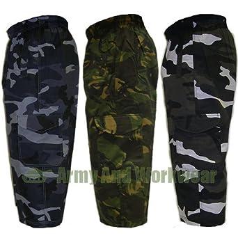 armyandworkwear short de combat 3 4 motif militaire camouflage pour homme bleu nuit. Black Bedroom Furniture Sets. Home Design Ideas