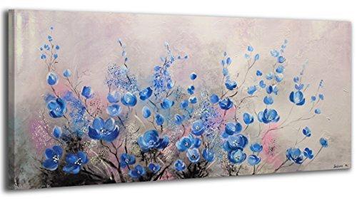 100% HANDMADE + Certificato | Quadro dipinto con colori acrilici Complimento | 115x50 cm | dipinti su tela con lettiga in legno | artigianali | Comodo fissaggio alla parete | Arte Contemporanea