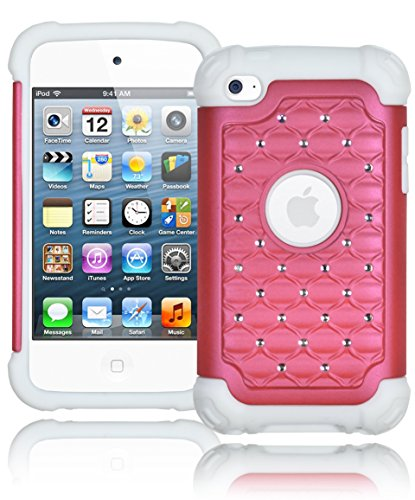 Bastex Heavy Duty Snap On Baby Pink Bling Case Cover For Apple Ipod Touch 4 - Baby Light Pink Diamond Crystal On White Silicone front-363468