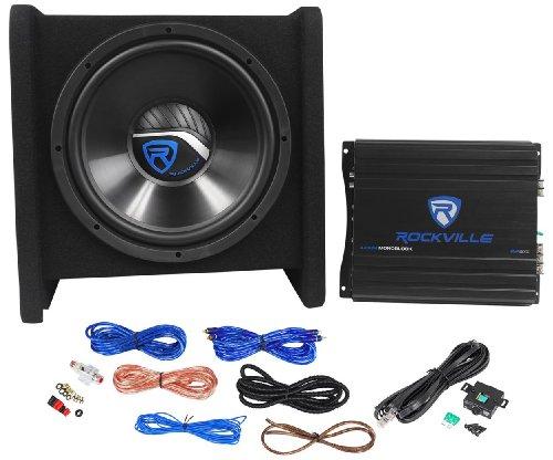 "Rockville Rv12.1A 600W 12"" Loaded Car Subwoofer Enclosure+Mono Amplifier+Amp Kit"