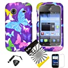 4 items Combo: ITUFFY (TM) LCD Screen Protector Film + Mini Stylus Pen + Case Opener + Design Rubberized Snap on Hard Shell Cover Faceplate Skin Phone Case for Prepaid Android Smartphone ZTE Whirl Z660G /Straight Talk (Purple Color Butterfly)