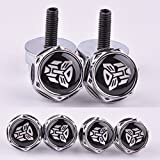 4 Pcs Chrome Car parts Auto Logo Stainless Replacement License Plate Frame Screw Bolt Caps Covers emblem With Autobot The Transformers thumbnail