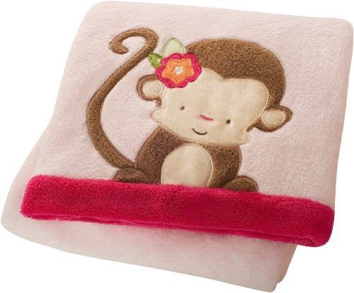 Kids Line Baby Boa Blanket, Miss Monkey
