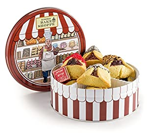 Happy Purim, Mishloach Manot, Purim Gift Basket, Beautiful Kosher Bake Shop Tin Filled with Gourmet Hamantachen Fruit Filled Dipped in Non Dairy Chocolate