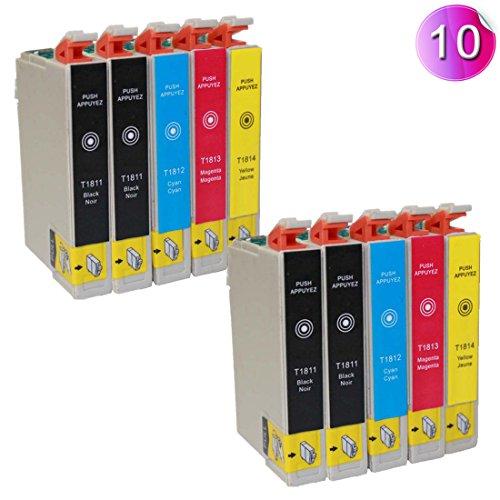 10 Drucker Patronen T1811 - T1814 kompatibel für Epson Expression Home XP-305 XP-212 XP-215 XP-312 XP-315 XP-412 XP-415 Drucker Tinte patronen - mit chip