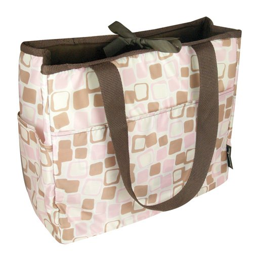Bumkins Waterproof BPA Free Reversible Diaper Bag - Rose Cubes