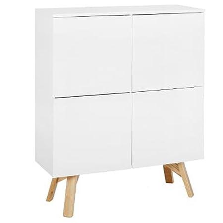 Armoire vaisselier de 4 portes coloris Blanc en Mdf/Frêne - Dim : L110 x l40 x H139 cm - PEGANE -