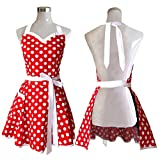 Lovely Sweetheart Red Retro Kitchen Aprons Woman Girl Cotton Polka Dot Cooking Salon Pinafore Vintage Apron Dress Christmas