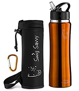 Swig Savvy Sleek and Sporty Double Wall Stainless Steel Water Bottle, 25oz - ORANGE - Including Water Bottle Pouch