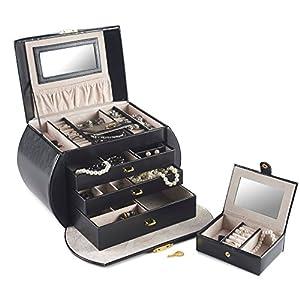 Beautify Elegant Black Jewellery Box Case with 3 Draws and Lock