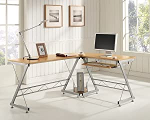 Black white beech computer desk pc table home office furniture corner l shape beech Home office furniture corner desk uk