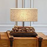 LOBERON Tischlampe Caribou natur/leinen Fuß: Paulownia-Holz