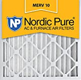 nordic pure 20x20x2 merv 10 pleated ac furnace air filter box of 3