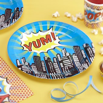 Ginger Ray Paper Plates - Pop Art Superhero Party (8 count) - 1