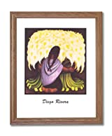Diego Rivera Spanish Girl Woman Flower Home Decor Wall Picture Oak Framed Art Print