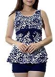 Women's Halter Shaping Body Two-Piece Swimsuit Plus Size Swimwear (Navy,XX-Large)