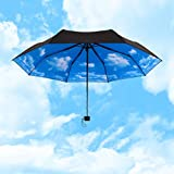 Yamix 3-Fold Sunblock UV Block Protection Travel Compact Lightweight Umbrella Blue Sky White Cloud