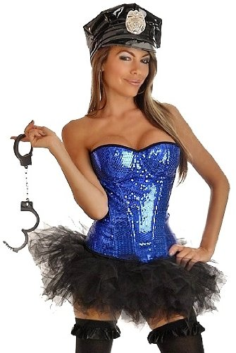 Daisy corsets Women's Pin-Up Cop Halloween Costume (4 Piece)