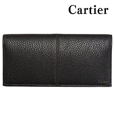 カルティエ 財布 Cartier 長財布 メンズ サドル ステッチ ライン マチ付き 小銭入れなし Cartier L3001161 エボニー 【並行輸入品】