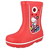 GIRLS CROCS WELLINGTONS BOOTS STYLE JAUNT HELLO KITTY RED