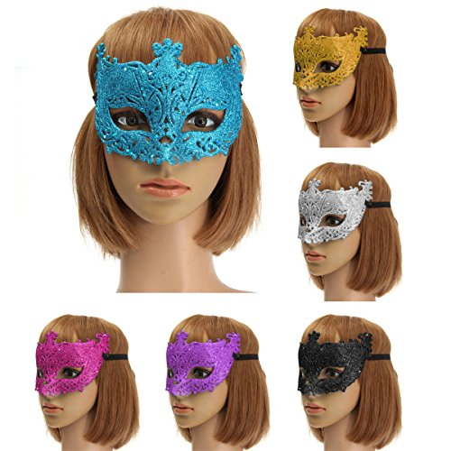 [Bargain World Colorful Venetian Glitter Mask Masquerade Costume Ball Mask Party Supplies] (Party Glitters Costumes)