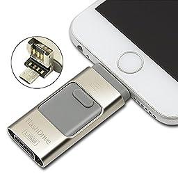 BENKS 3-in-1 OTG USB Flash Drive For Apple iPhone iPad iPod Mobile U Disk Business USB Stick Flash Pen Drive (Grey,64GB)