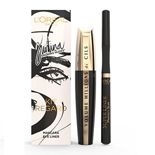 L'Oréal Paris Make Up Designer Collection Kristina Bazan Edition Limitée Coffret pour Yeux Millions de Cils Mascara Volume Extra Noir + Superliner Perfect Slim Noir