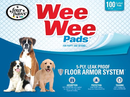 Four Paws Wee-Wee Puppy Housebreaking Pads, 100-Pack Box (Top Paw Dog House compare prices)