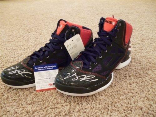 Derrick Rose Signed Auto Adidas Adizero Purple Pair Shoes Shoe Autographed - Psa/Dna Certified - Autographed Nba Sneakers