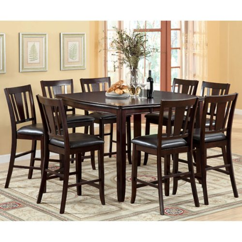 Ethan Espresso Finish Transitional Style 9-Piece Counter Height Dining Set