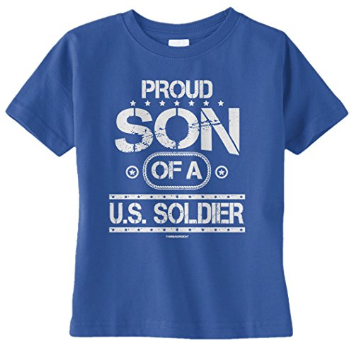 Threadrock Baby Boys' Proud Son Of A U.S. Soldier Infant T-Shirt 6M Royal Blue front-1045911