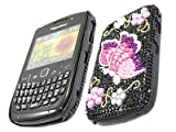 ITALKonline FunkGem BLACK PINK BUTTERFLY Diamonte Crystals Super Hydro Gel Protective Armour/Case/Skin/Cover/Shell for BlackBerry 8520 Curve, 9300 3G