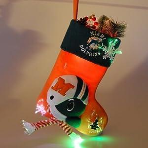 "18"" NFL Miami Dolphins Plush Lighted Fiber Optic Christmas Stocking"