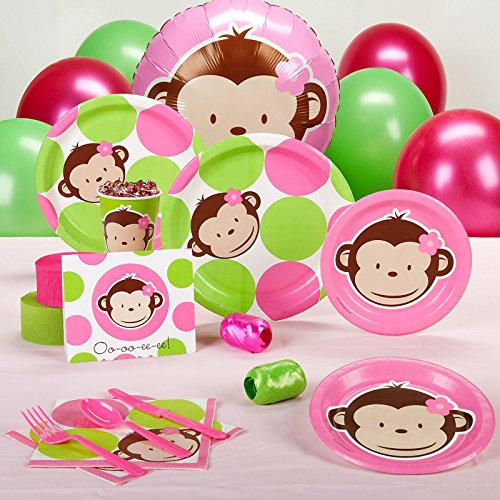Pink Mod Monkey Baby Shower Standard Party Pack For 16