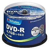 三菱化学メディア Verbatim DVD-R(Data) 1回記録用 4.7GB 1-16倍速 50枚スピンドルケース50P インクジェットプリンタ対応(ホワイト) ワイド印刷エリア対応 ランキングお取り寄せ