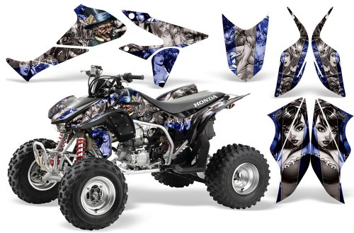 2004-2015-Honda-TRX450R-AMRRACING-ATV-Graphics-Decal-Kit-MadHatter-Silver-Blue